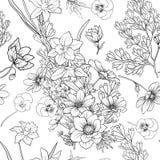 El modelo inconsútil con la amapola florece el narciso, anémona, violeta adentro Imagenes de archivo