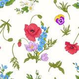 El modelo inconsútil con la amapola florece, los narcisos, anémonas, violetas Fotos de archivo libres de regalías