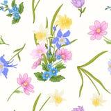 El modelo inconsútil con la amapola florece, los narcisos, anémonas, violetas Imagen de archivo libre de regalías