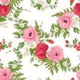 El modelo inconsútil con la amapola florece, los narcisos, anémonas, violetas Foto de archivo libre de regalías