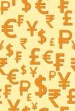 El modelo inconsútil con la imagen del dinero del mundo firma Ilustración del vector stock de ilustración