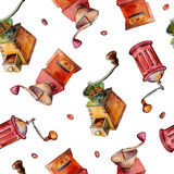 El modelo inconsútil con las amoladoras de café, acuarela ilustró el fondo libre illustration