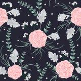 El modelo inconsútil con las flores rosadas de las camelias, el molinero polvoriento y el eucalipto hojean stock de ilustración