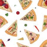 El modelo inconsútil con las rebanadas de diversos tipos e ingredientes de la pizza dispersó alrededor en el fondo blanco Vector stock de ilustración