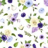 El modelo inconsútil con las rosas azules, púrpuras y blancas, los lisianthuses, las anémonas y la lila florece Ilustración del v Fotografía de archivo