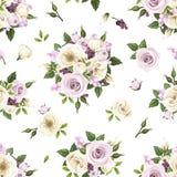 El modelo inconsútil con las rosas púrpuras y blancas y lisianthus florece Ilustración del vector Imagen de archivo