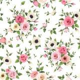 El modelo inconsútil con las rosas rosadas y blancas, lisianthus y la anémona florece Ilustración del vector ilustración del vector