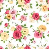 El modelo inconsútil con las rosas y lisianthus coloridos florece Ilustración del vector Imagen de archivo libre de regalías