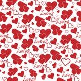 El modelo inconsútil con los corazones ama día del ` s de la tarjeta del día de San Valentín Fotografía de archivo