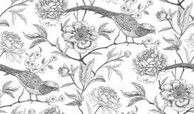 El modelo inconsútil con los faisanes y la peonía exóticos del pájaro florece Foto de archivo