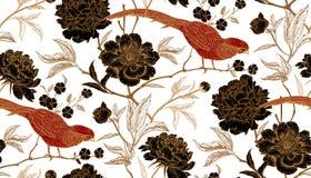 El modelo inconsútil con los faisanes y la peonía exóticos del pájaro florece Imagen de archivo
