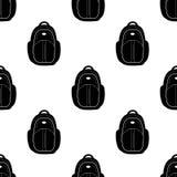 El modelo inconsútil con negro hace excursionismo en el fondo blanco Imagen de archivo
