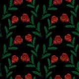 El modelo inconsútil con poco bordado cose el rojo de imitación r libre illustration