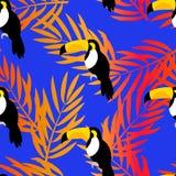 El modelo inconsútil con el tucán y la palma ramifica para las materias textiles y envolver libre illustration