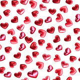 El modelo inconsútil de 3d rinde los corazones brillantes para el día de tarjetas del día de San Valentín Ejemplo del amor, datac Imagen de archivo libre de regalías