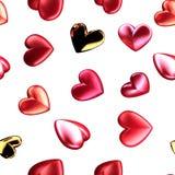 El modelo inconsútil de 3d rinde los corazones brillantes para el día de tarjetas del día de San Valentín Ejemplo del amor, datac Foto de archivo libre de regalías