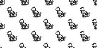 El modelo inconsútil de Halloween del gato aisló el fondo del papel pintado del gatito del icono del fantasma del hueso de Cat Sk ilustración del vector