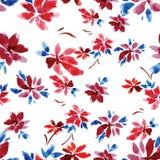 El modelo inconsútil de la acuarela de flores y del azul rojos se va en un fondo blanco imagen de archivo libre de regalías