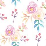 El modelo inconsútil de la acuarela sale de verano floral rosado púrpura de la primavera de las flores Fotos de archivo libres de regalías