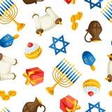 El modelo inconsútil de la celebración judía de Jánuca con día de fiesta se opone ilustración del vector