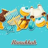 El modelo inconsútil de la celebración judía de Jánuca con la etiqueta engomada del día de fiesta se opone ilustración del vector