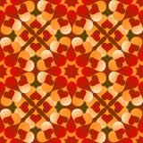 El modelo inconsútil de la tarjeta del día de San Valentín romántica con las flores del corazón rojo y anaranjado de la pendiente Fotos de archivo