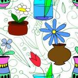 El modelo inconsútil de las plantas de tiesto florece en los potes 2 Foto de archivo libre de regalías