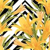 El modelo inconsútil de lirios florece con la hoja en fondo geométrico gráfico blanco y negro Fotografía de archivo