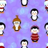 El modelo inconsútil de los pingüinos viste la Navidad Imágenes de archivo libres de regalías