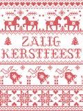 El modelo inconsútil de Zalig Kerstfeest del holandés del modelo de la Navidad inspiró por invierno festivo de la cultura nórdica ilustración del vector
