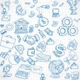 El modelo inconsútil del azul garabatea en el tema 3 del negocio Imagen de archivo libre de regalías