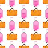 El modelo inconsútil del equipaje del viaje con el bolso colorido plano de las mochilas y de los bolsos del equipaje vector el ej Foto de archivo libre de regalías