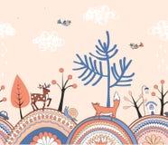 El modelo inconsútil del garabato lindo con la historieta adornó las colinas, los árboles, y los animales del bosque Frontera con libre illustration