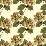El modelo inconsútil del oro florece rosas Flores, brotes, hojas y troncos tejidos en un fondo amarillo Papel pintado, envoltura, Fotos de archivo libres de regalías