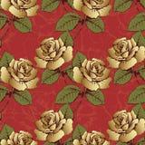El modelo inconsútil del oro florece rosas Flores, brotes, hojas y troncos tejidos en un fondo del escarlata con los modelos flor Imagen de archivo libre de regalías