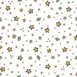 El modelo inconsútil del vector del cielo estrellado, amarillo dibujado mano del ejemplo protagoniza la galaxia libre illustration