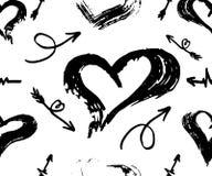El modelo inconsútil del vector con las diversos flechas y corazones, se ennegrece en blanco Cepillo de la mano dibujado Ilustrac ilustración del vector
