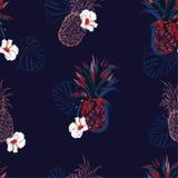 El modelo inconsútil del vector con las piñas coloridas y las flores del hibisco mezcladas con la línea ahnd dibujado diseña el d ilustración del vector