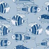 El modelo inconsútil del vector con los pescados azules Foto de archivo libre de regalías