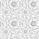 El modelo inconsútil del vector de flores monocromáticas puede lirio y los girasoles en la mano escandinava del estilo dibujada e ilustración del vector
