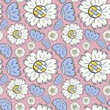 El modelo inconsútil del vector de las flores del color puede lirio y los girasoles en la mano escandinava del estilo dibujada en ilustración del vector