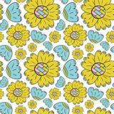 El modelo inconsútil del vector de las flores del color puede lirio y los girasoles en la mano escandinava del estilo dibujada en libre illustration