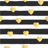 El modelo inconsútil del vector raya corazones de la hoja de oro stock de ilustración