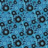 El modelo inconsútil floral, historieta linda florece el fondo azul Imagenes de archivo