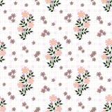 El modelo inconsútil floral, historieta linda florece el fondo blanco en motas Imágenes de archivo libres de regalías