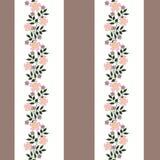 El modelo inconsútil floral, historieta linda florece el fondo blanco, marrón rayado Fotografía de archivo libre de regalías