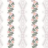 El modelo inconsútil floral, historieta linda florece el fondo blanco rayado Imagen de archivo libre de regalías