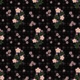 El modelo inconsútil floral, historieta linda florece el fondo negro en motas Imágenes de archivo libres de regalías