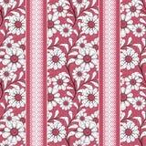 El modelo inconsútil floral, historieta linda florece el fondo rojo rayado Imagen de archivo libre de regalías