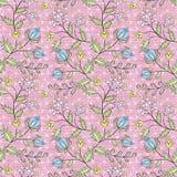 El modelo inconsútil floral, historieta linda florece el fondo rosado Fotografía de archivo libre de regalías